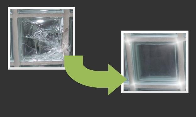 Auswechseln einzelner defekter Glasbausteine