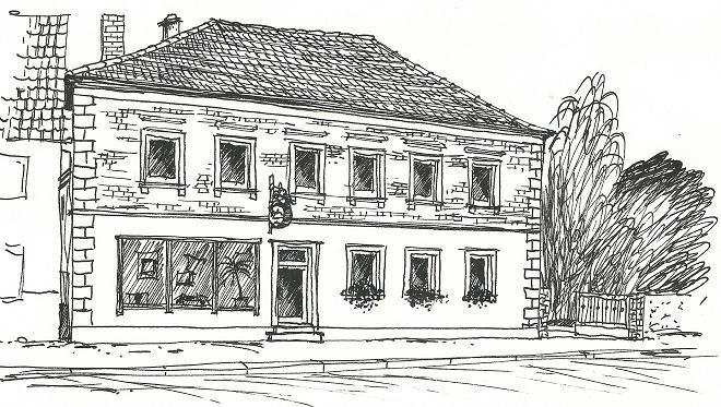 Stammhaus in Dingolshausen auf einer Zeichnung von 1990, Produktion befindet sich hinter dem Haus