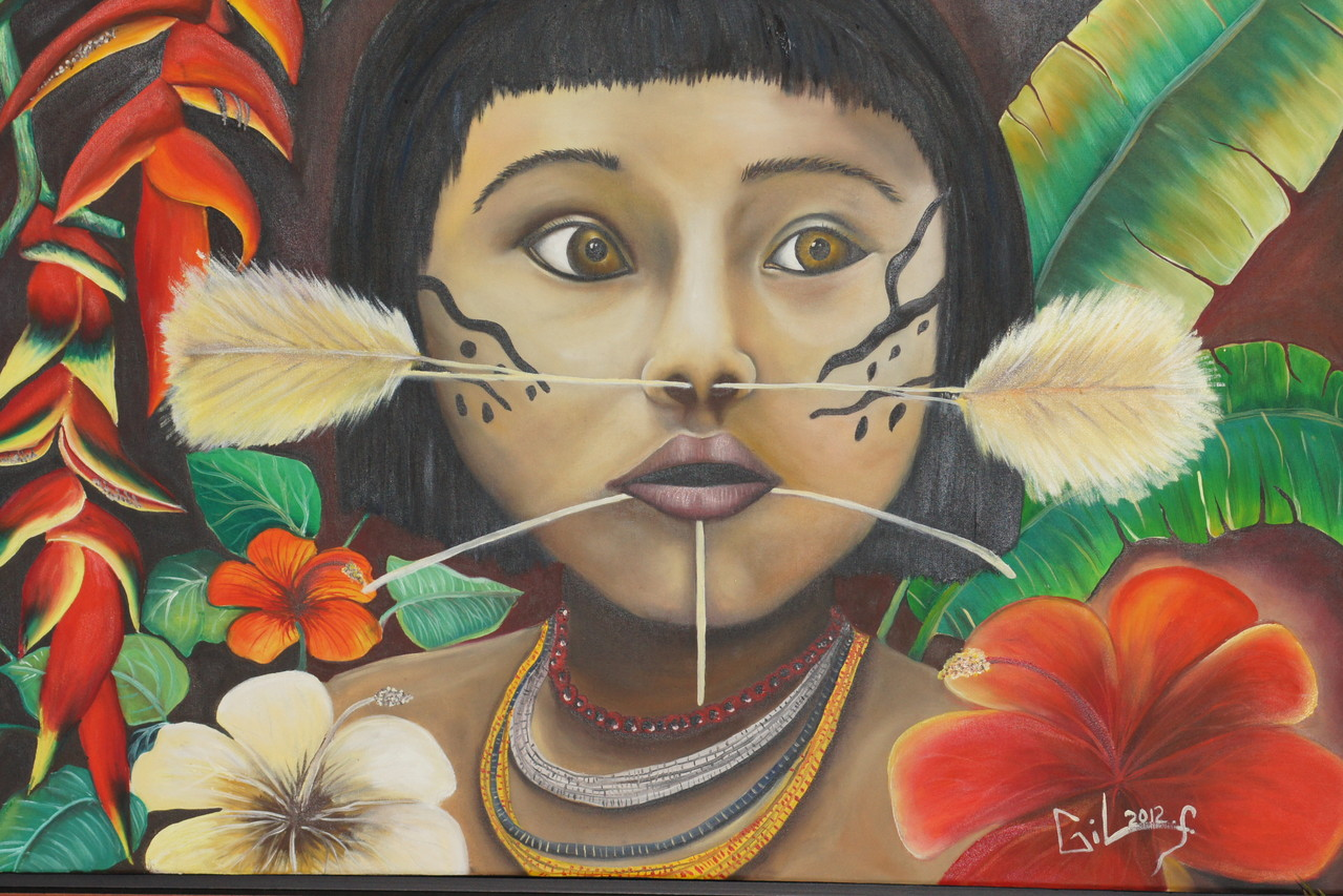 "Amazona Yanomami child .Official Poster vernissage ""Land of Magic..""  Montreal,Qc.Canada. Artist Fernando Gil from Ciudad Bolivar.Venezuela"