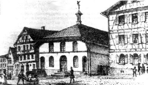 Ansicht der Synagoge in Hechingen (undatiert, zwischen 1852 und 1881); Lithographie von S. Obach