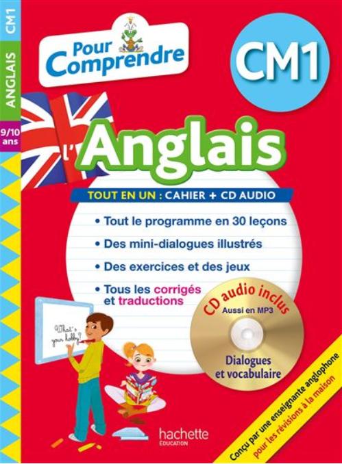 """Un livre avec CD intitulé """"Pour Comprendre l'Anglais"""" pour CM1 de Joanna Le May, publiée par Hachette."""