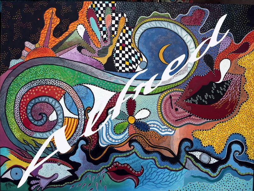 N°3  le tourbillon de la vie. toile de lin 130 cm x 97 cm
