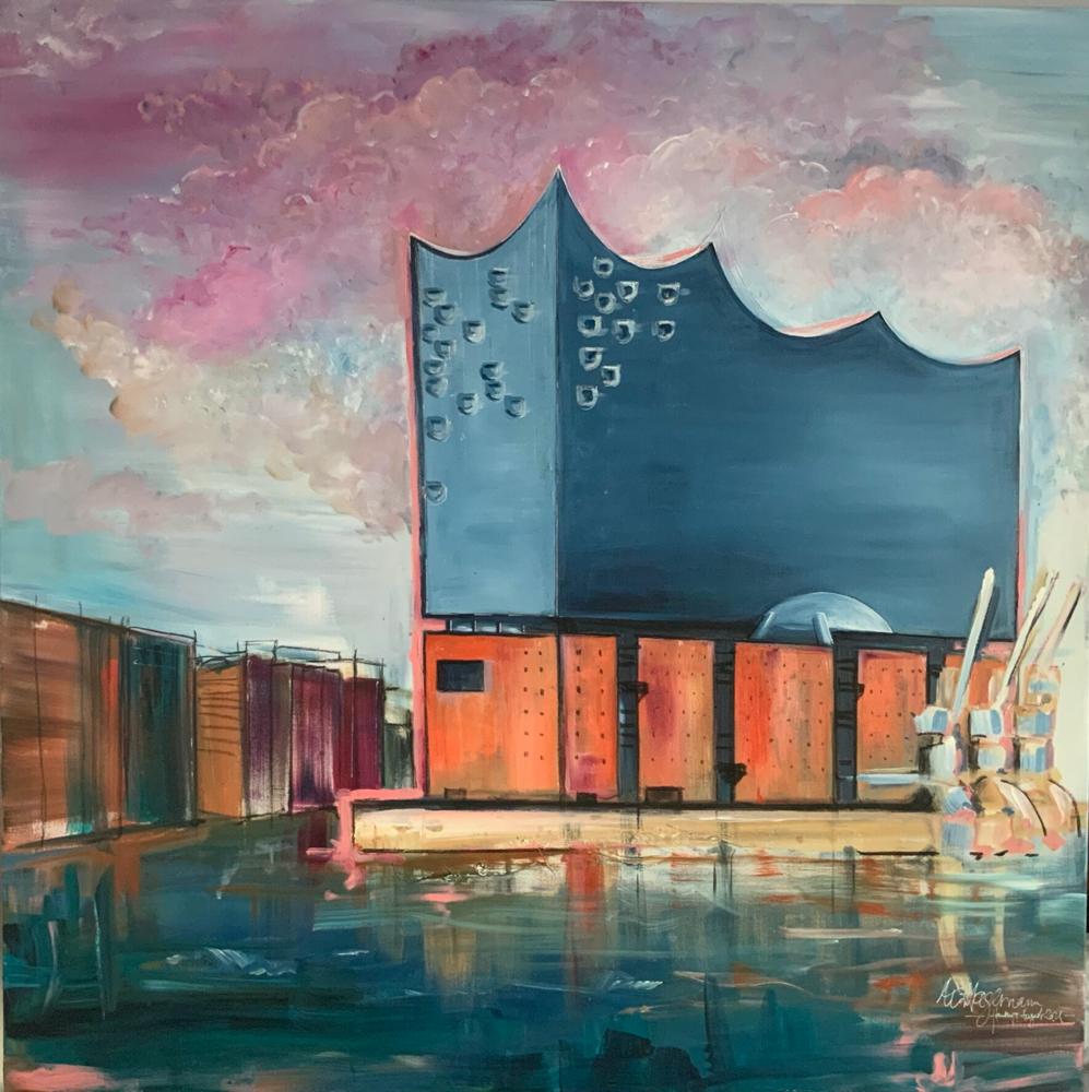 Elphilharmonie - Acryl auf Leinwand - 120x120 cm