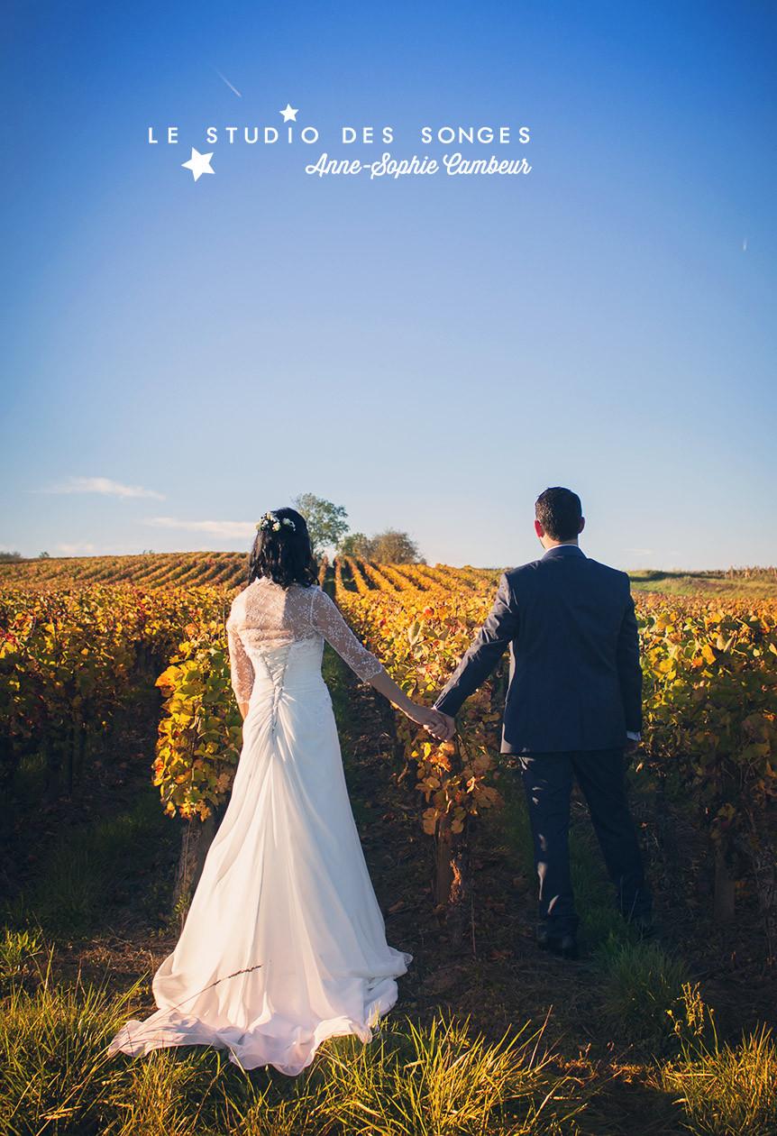 Photographe de MARIAGE un coin  dans les vignes. Dijon Côte d'or Bourgogne Le studio des Songes Anne-Sophie Cambeur photographe mariage