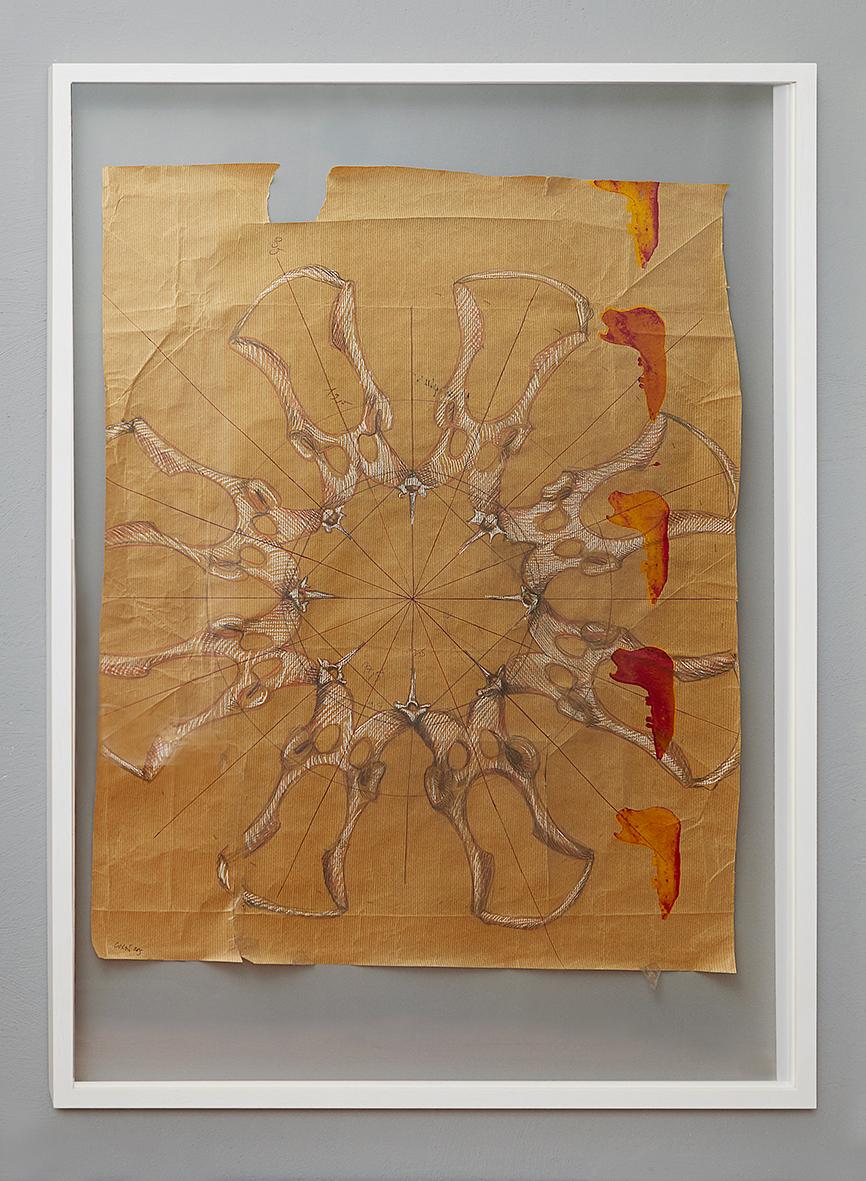"""Konstruktionszeichnung für """"10.000 B.C. industrialized #C"""", 2015, Bleistift, Pastellkreide und Siebdruck auf Papier, 100 x 70 cm (79 x 61,5 cm)"""