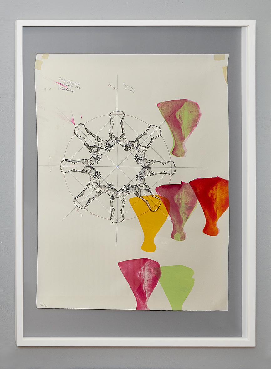 """Konstruktionszeichnung für """"10.000 B.C. industrialized #D"""", 2016, Bleistift, Filzstift, Aquarell und Siebdruck auf Papier, 100 x 70 cm (81 x 58 cm)"""