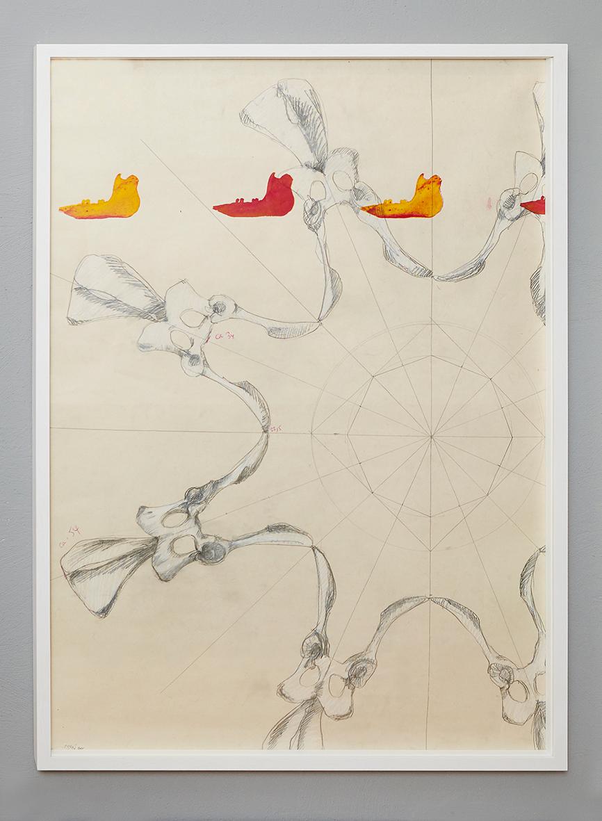 """Konstruktionszeichnung für """"10.000 B.C. industrialized #A"""", 2015, Bleistift, Pastellkreide und Siebdruck auf Papier, 100 x 70 cm"""