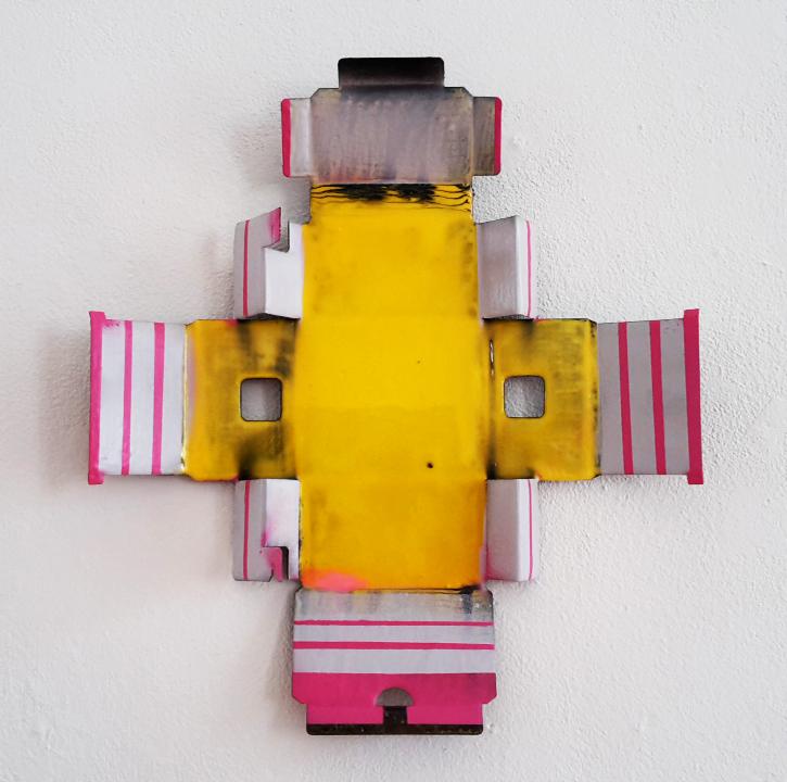 Candy Striped, 2017, Verpackungskarton und Polyurethan, 53x47cm