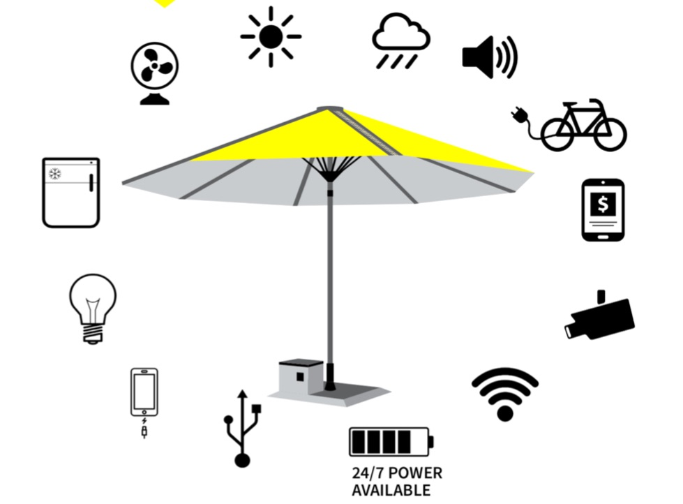 chargingpower 24/7 available on solar umbrella