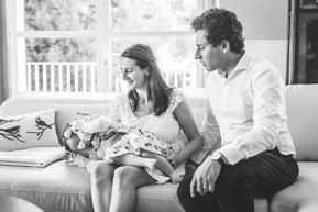 photos de famille, parents avec nouveau né
