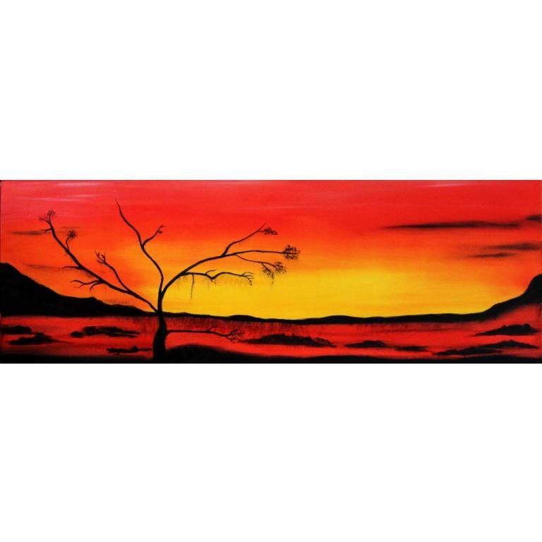 """contraste """"levé de soleil""""  huile sur toile  90x30"""