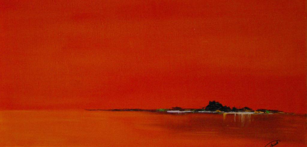 """""""île (orange)""""   huile sur toile 60x30"""