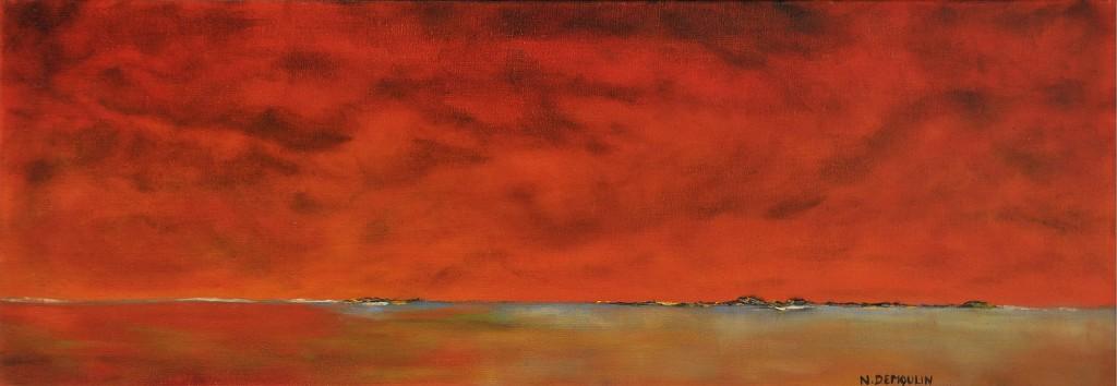 """""""Horizon 1""""   acrylique et huile sur toile 91x30"""