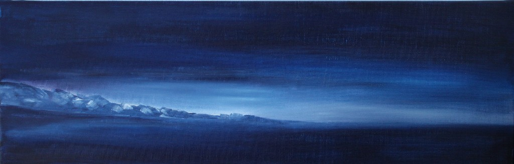 """""""La nuit""""   huile sur toile 75x25"""
