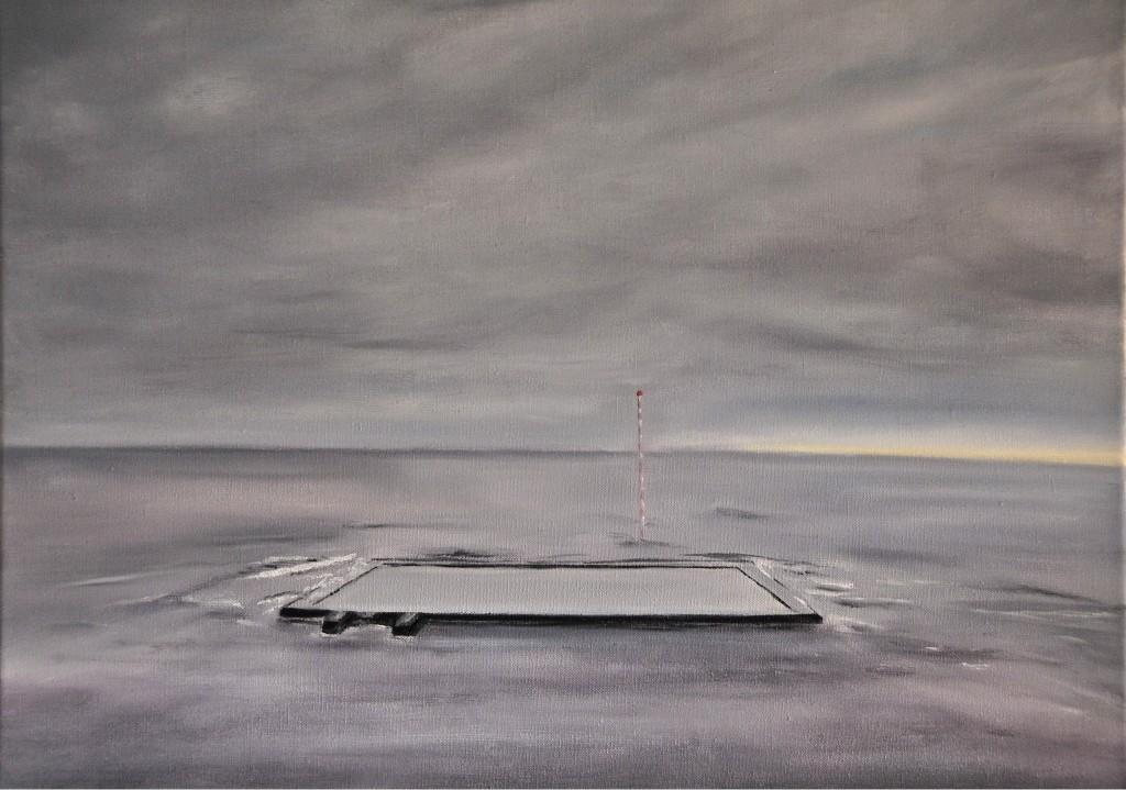 """""""Piscine dans l'Océan""""   huile sur toile 61x50"""