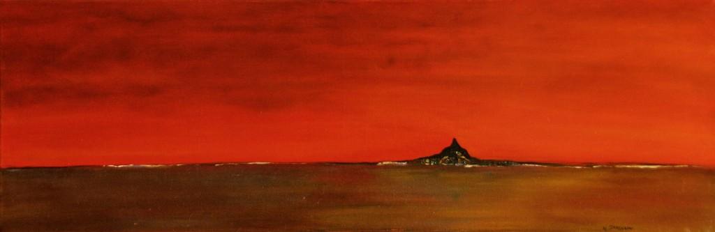 """""""Saint Michel""""   acrylique /huile sur toile 91x30"""