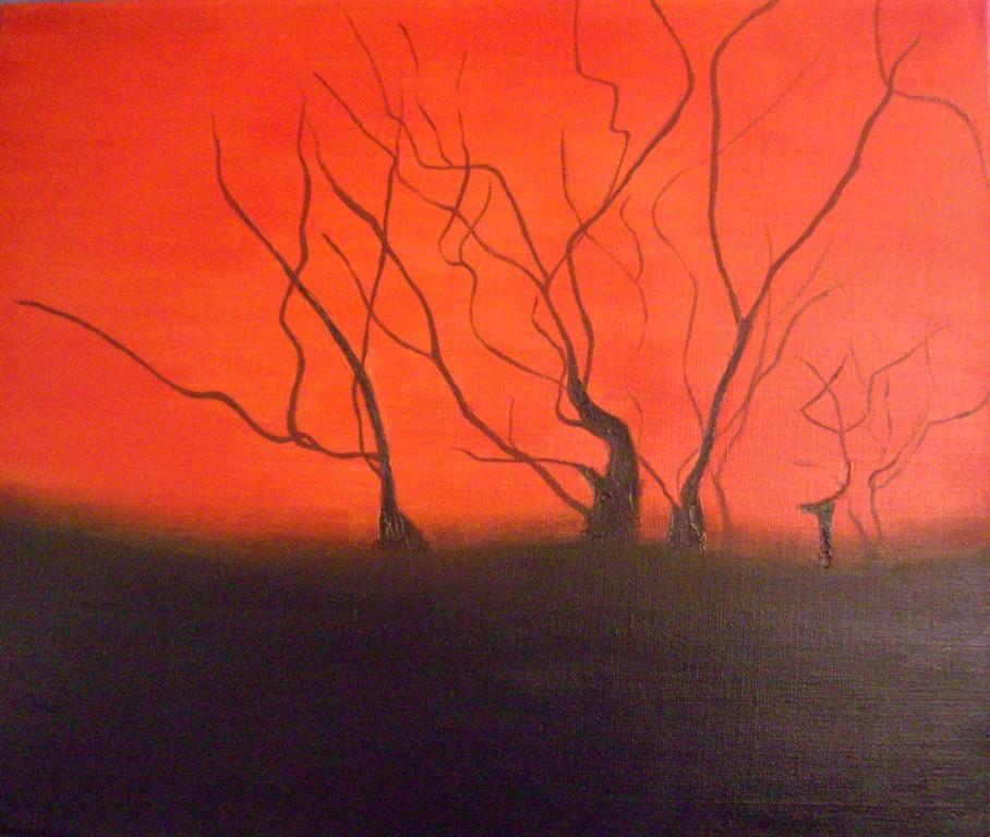 """""""contraste """"les arbres""""   huile sur toile 66x46"""