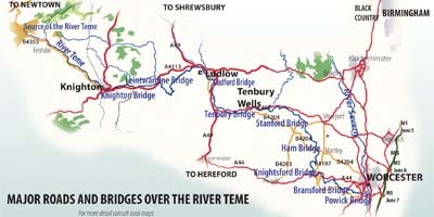 Roads and bridges over river Teme
