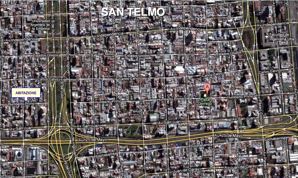 MAPPA DEL QUARTIERE DI SAN TELMO - Mapa del bario de  SAN TELMO - Map of San Telmo district