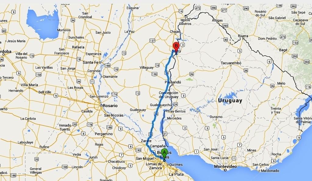 Mappa del tragitto su strada da Buenos Aires a Concordia (452 Km.)