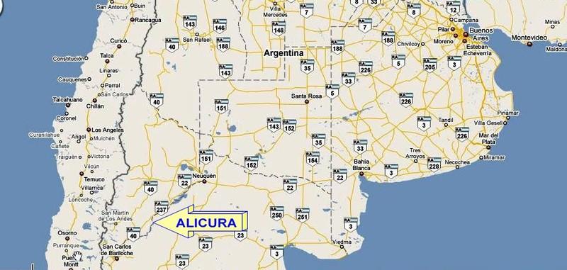 ARGENTINA - LOCALIZZAZIONE DI ALICURA