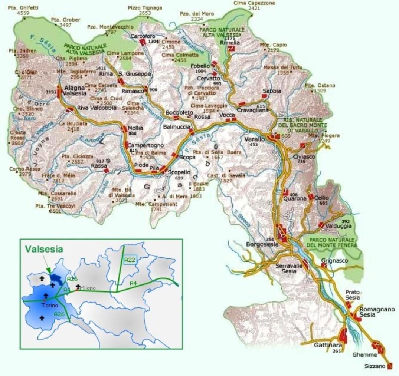 Cartina della Valsesia