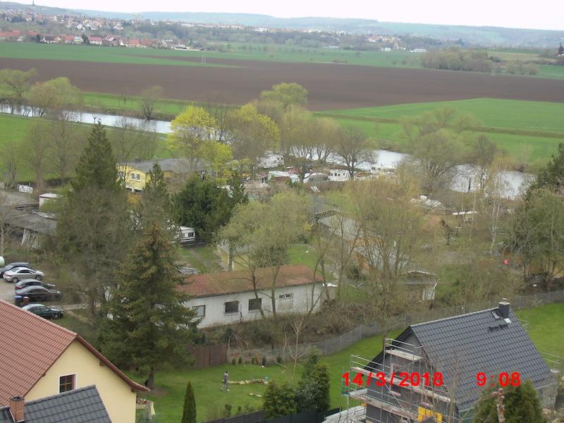 Ein Blick von der Burg auf den Gastverein KC Schönburg