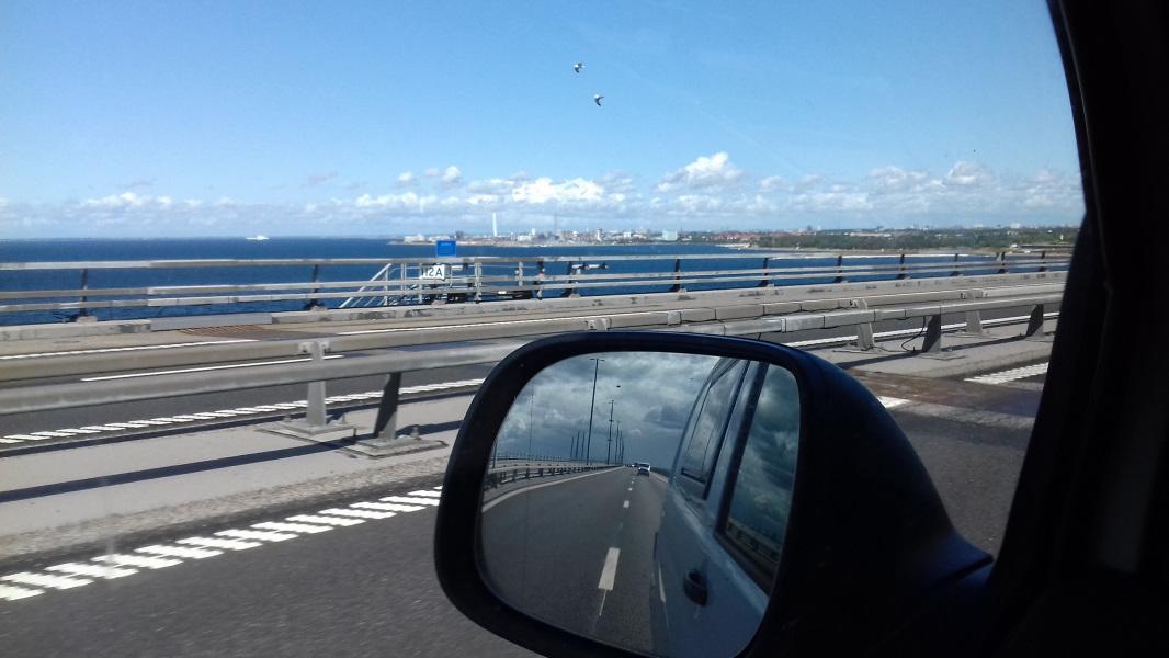vor mir: Malmö und hinter mir: Dänemark