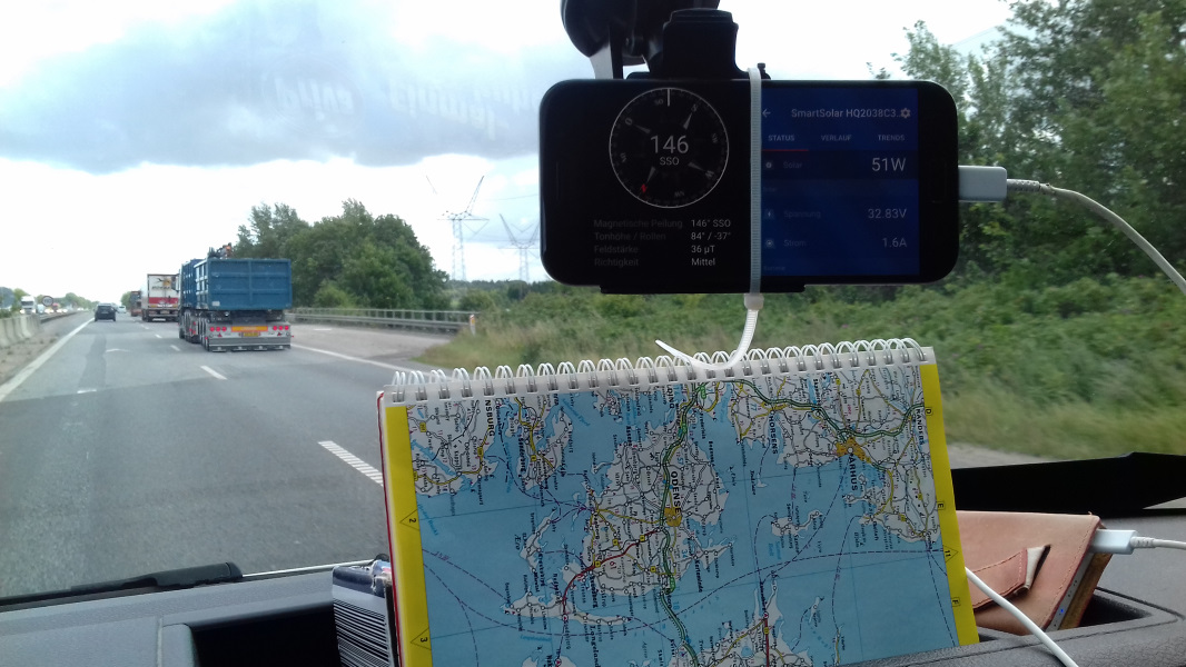 mit Karte und Kompass