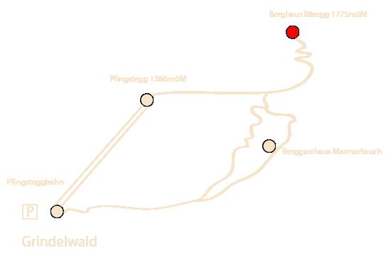 Karte Wanderweg Bäregg
