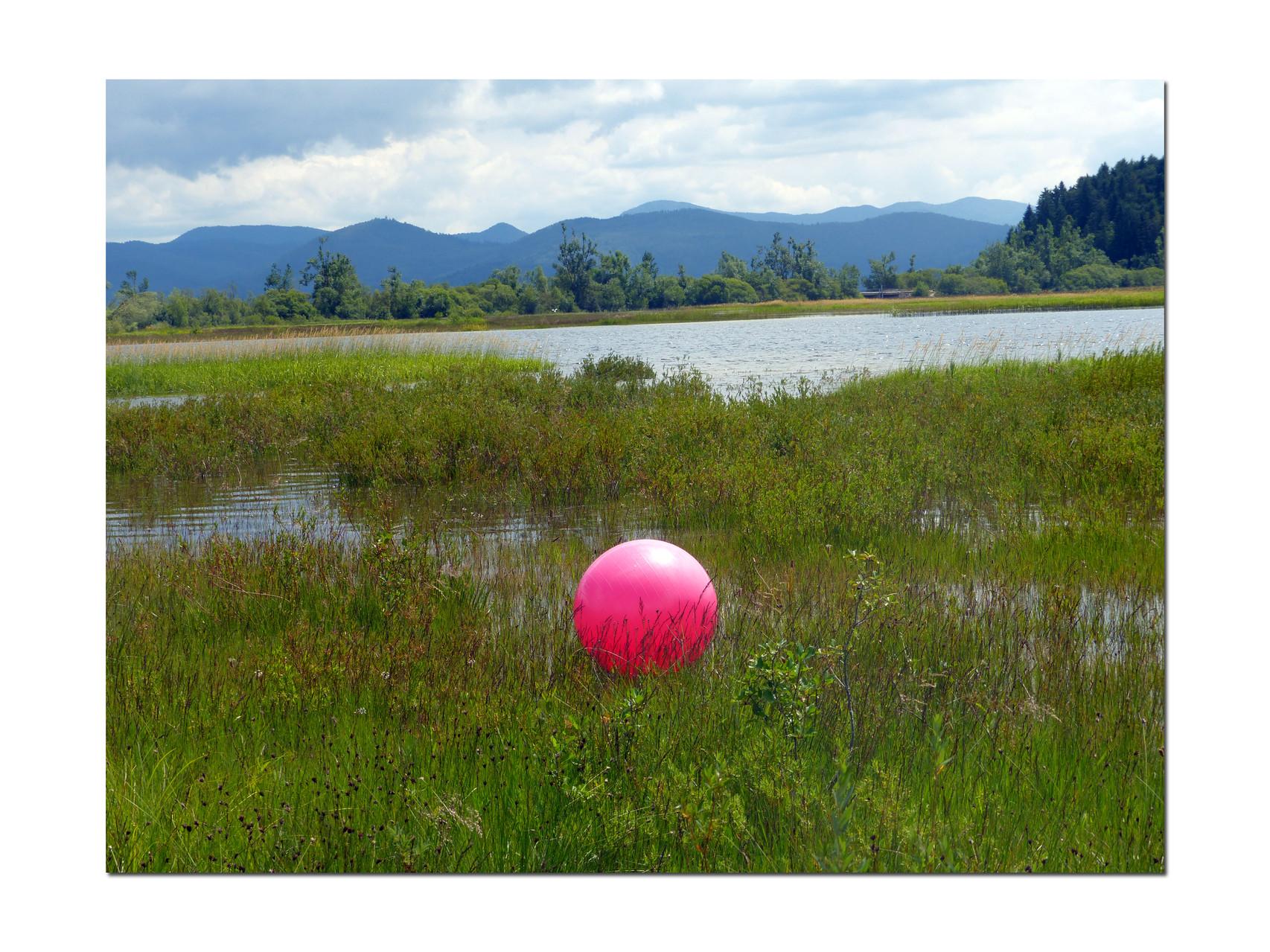 der rote Wasserball am Zirknitzer See, weit entfernt badeten Kinder und durch den Wind wehte es den Ball zu uns :-)