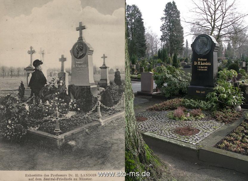 Das Grab auf dem Zentralfriedhof - damals und heute. Das Kreuz des Grabsteins ist im Bombenkrieg zerstört worden.