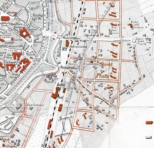 Ausschnitt Stadtplan 1865 - In späteren Jahren wurde der künftigen Gleisverlauf mit Bleistift eingezeichnet. - 6222.284.15