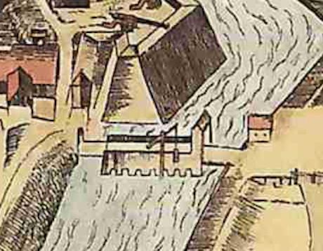Aus Alerdincks Vogelschau -Bildmitte: Vorrichtung für den Wasserkorb an der Brücke
