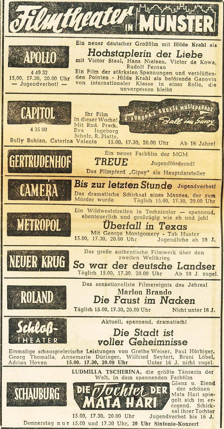 Filmprogramm 1955