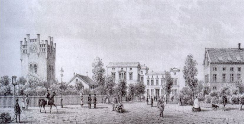 Münsters erster Bahnhof um 1850 - Stadtarchiv Münster