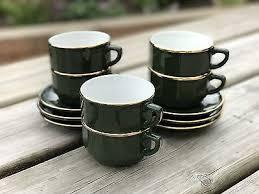 APILCO Bistro Tasse mit Untertasse Kaffee weiß mit Platinrand