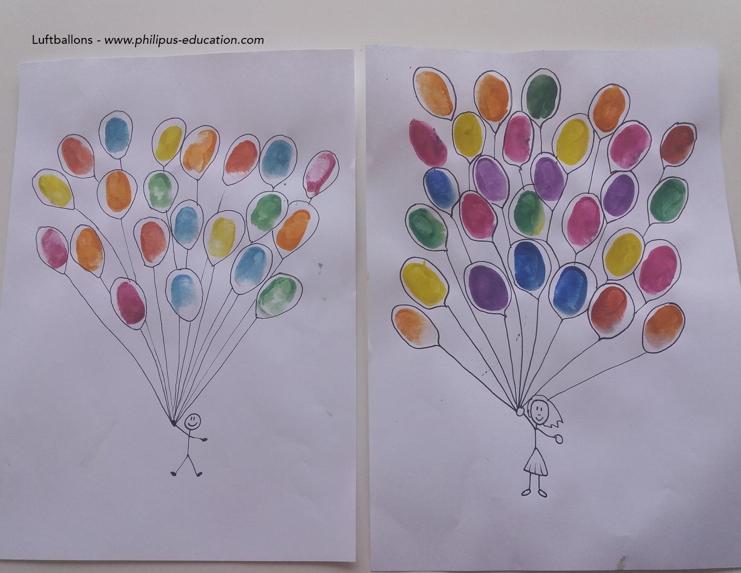 Fingerabdrücke als Luftballons - fertig!