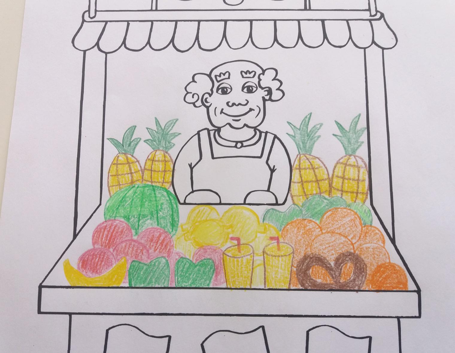 Von vorne nach hinten Obst, Getränke und Gebäck in den Kasten malen - dabei darauf achten, kontrastierende Farben nebeneinander zu setzen