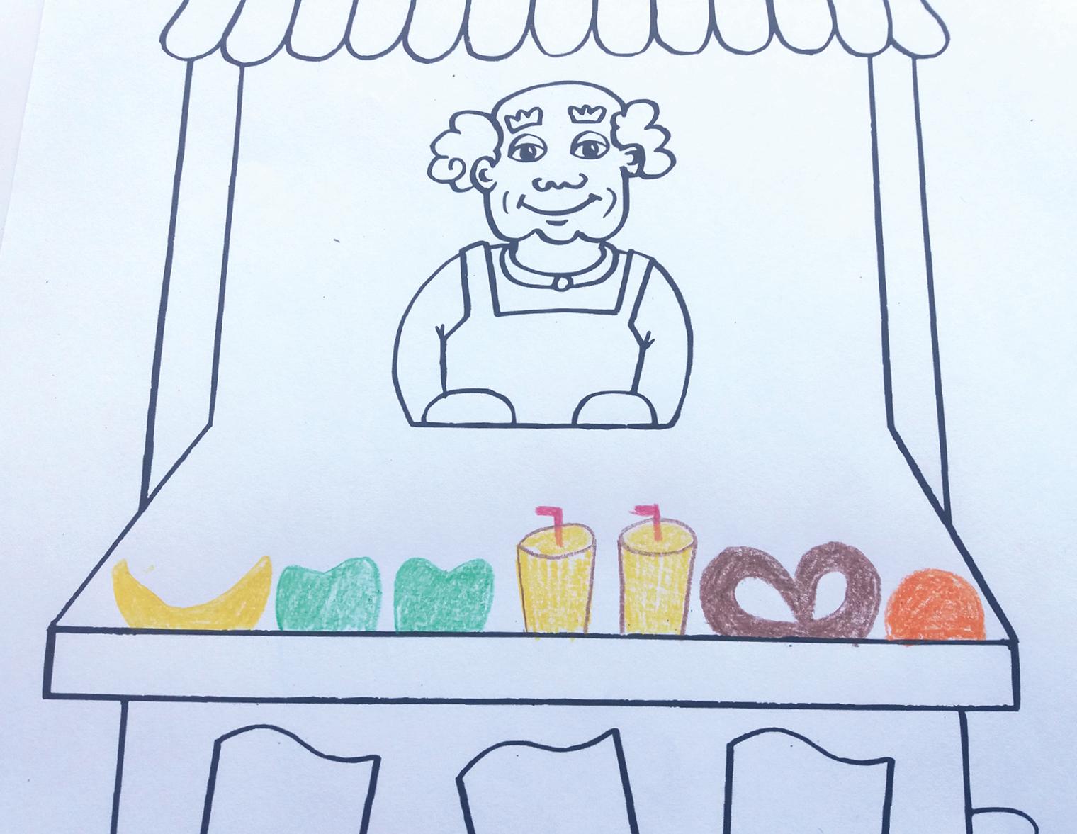Vorne beginnend verschiedene Lebensmittel in den Verkaufskasten des Imbissstands malen