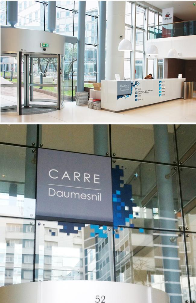 Logo  et déclinaison de la signalétique - Immeuble Carré Dausmenil - Pour l'agence Image Point Com