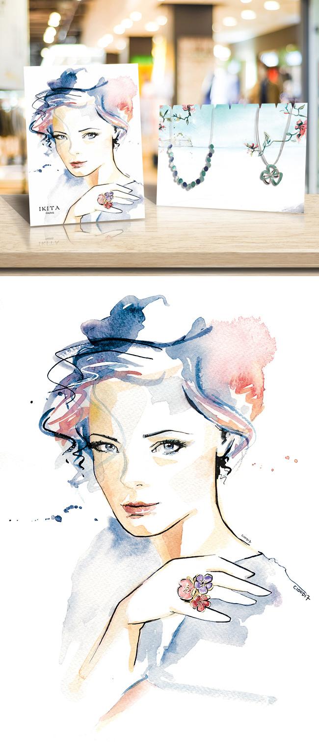 Illustration et conception de PLV de comptoir pour une créatrice bijoux - IKITA Paris