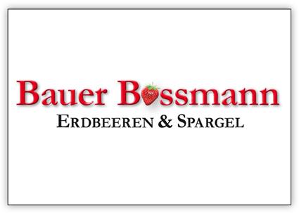 """Logo Beispiel: Bauer Bossmann als Schriftzug in rot mit einer Erdbeere statt eines """"o""""."""