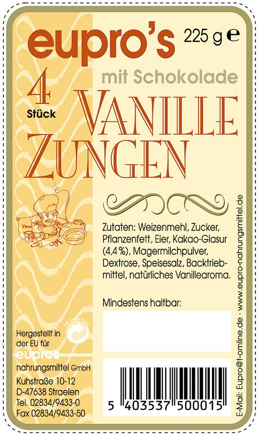 Verpackung für 4 Vanillezungen mit Schokolade