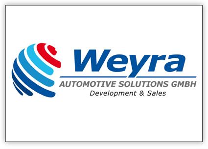 Das Logo der Firma Weyra besteht aus angedeuteten Linien einer Weltkugel und dem Schriftzug in Blau.