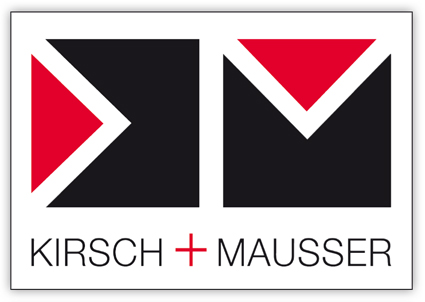 Das Design der Firma Kirsch und Mausser sind 2 Quadrate die durch 2 Dreiecke zerschnitten werden.