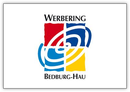 Das Logo des Werbering Bedburg-Hau wird durch vier Rechtecke symbolisiert durch die sich eine Spirale zieht.