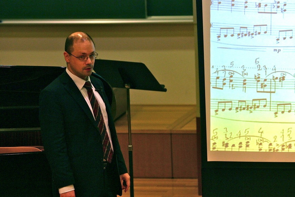 Masterclass on Ligeti´s Etudes pour piano at the Tokyo College of Music, Japan, 2009 (Photo: privat)