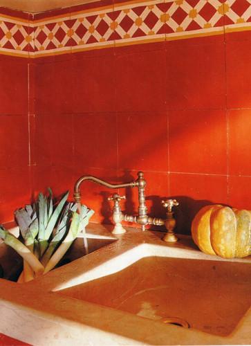 SOUTHERN TILES_Carocim, Zementfliese_Uni-Rot U2_Bordüre: Latti rot-gelb F174, 20x20 cm