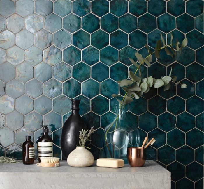 """New Terracotta, Hexagon size """"S"""", Mystery Teal Explosion X020"""